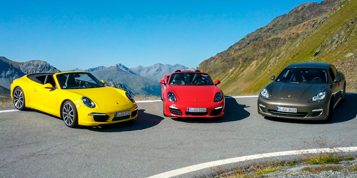 3 Porsche am Stilfser Joch